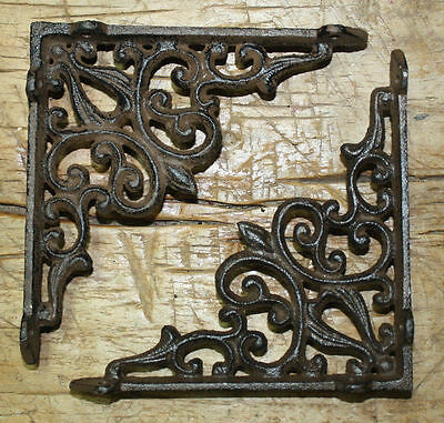 6 Cast Iron Antique Style HEART Brackets, Garden Braces RUSTIC Shelf Bracket