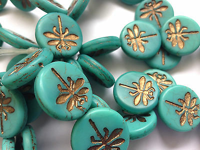 Jewellery Making Czech Pressed Flat Round Dragonfly Focal Bead -Pick Colour - x1