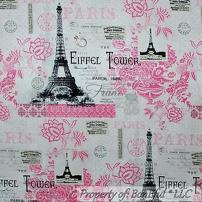 BonEful Fabric FQ Cotton Quilt White Pink B&W Flower Eiffel Tower Paris France L