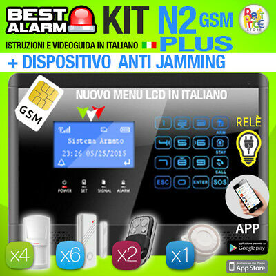 Antifurto Kit N2 Plus Allarme Touch Casa Combinatore Gsm Wireless Antijamming
