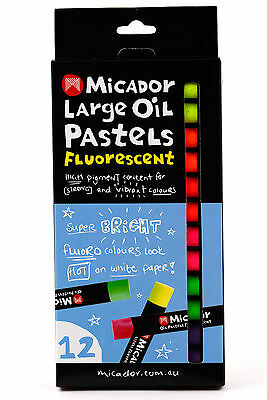 12Pc Micador Large Fluorescent Oil Pastels Bright High Pigment Quality Non Toxic
