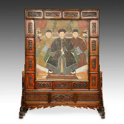 Rare Antique Chinese Pingfeng Painted Lacquered Screen Ancestor China 18Th C.