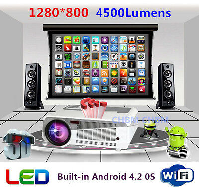 4500lumens 3D Wifi LED 1080P Full HD Home Theater  Android 4.2  Smart  Projector