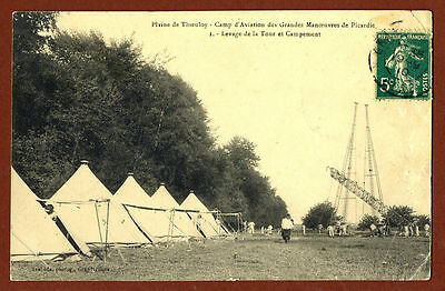 1910 THIEULOY Plaine Aviation Camp Big Maneuvers of Picardie Photo Postcard