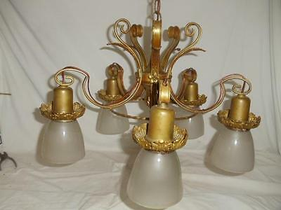 Vintage Hanging Brass Ceiling 5 Arm Antique Light Fixture Chandelier w/ Shades
