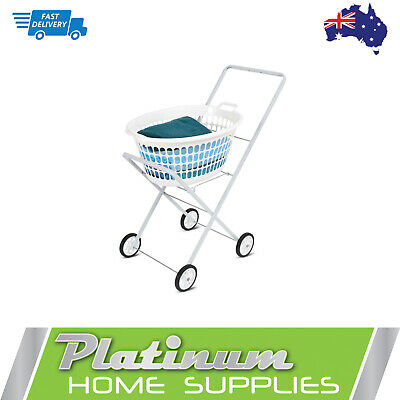 Laundry Trolley Washing Trolley Clothes Suit Basket Collapsible Cart on Wheels