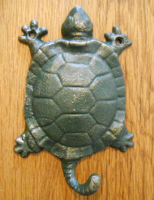 12 Cast Iron Antique Style Nautical TURTLE Coat Hooks Hat Hook Rack Towel Sea