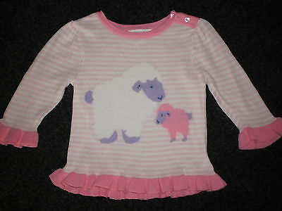 Cute Sheep + Lamb Baby Girl Knit Jumper Top Size 00 Fits 3-6M New