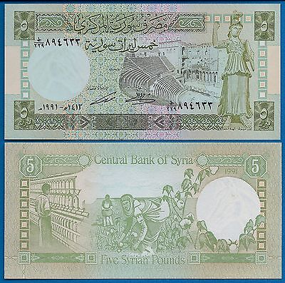Syria P-100 Five Pounds Year 1991 Bosra Theater Uncirculated Banknote