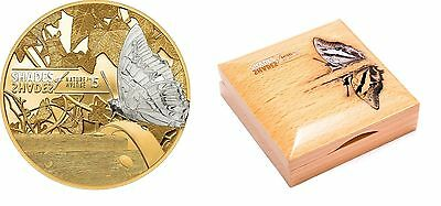 Rare 2015 Cook Is.Large Proof Silver Gilt $5 Butterfly-Shades Of nature-Gift Box