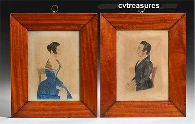 Husband & Wife Pair Paintings Watercolors 19th Century Extraordinary Fine Art !