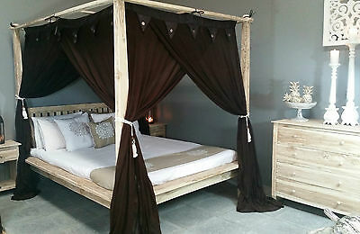 Four Poster Bed Brown Canopy Mosquito Net Curtain King Size 185cm x 205cm
