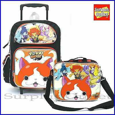 "Yokai Watch 16"" Large Rolling Backpack Roller Lunch Bag 2pcs Set"