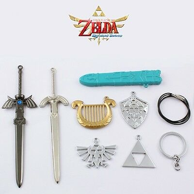 7pcs Set The Legend of Zelda Weapon Sword & Badge Pendant Cosplay NO Box #02