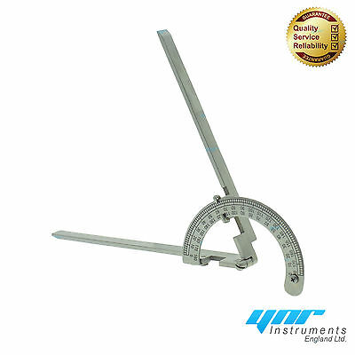 """YNR Goniometer Angle Ruler Joint Bend Measure Stainless Steel 9"""" 240mm 1D Model"""