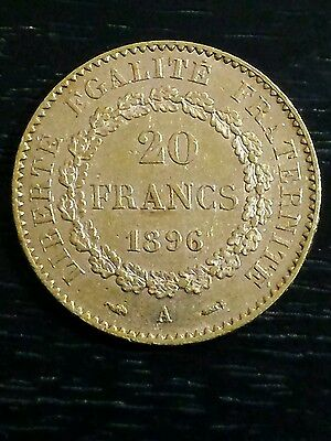 1896 France 20 Franc Angel Gold Coin