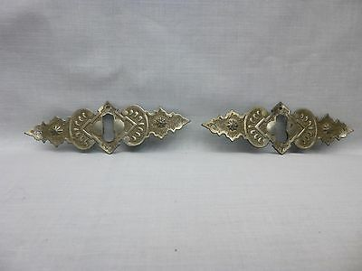 Antique Pair of Drawer Key Plates Circa 1890 Art Nouveau