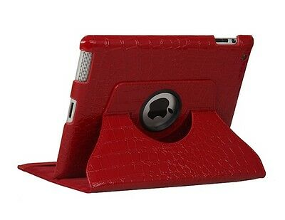 Red Crocodile 360 Degrees Rotating Smart Stand Leather Cover Case for iPAD 2