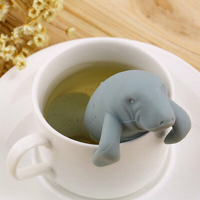 Silicone Manatee  Diffuser Infuser Loose Tea Leaf Strainer Herbal Spice Filter F