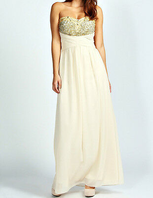 Womens Beige Embellished Maxi Dress Cocktail Prom Gown Party Dress Size 8-24