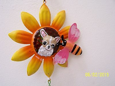 handpainted Chihuahua metal wind chimes ready to hang