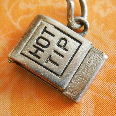 Vintage 40s Enamel HOT TIPS MATCHBOOK OPENS MATCHES Sterling Silver Charm WELLS