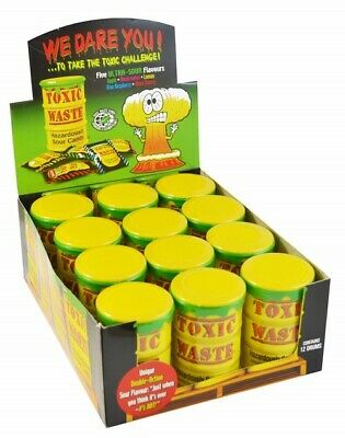 TOXIC WASTE DRUMS SOUR CANDY (YELLOW) x 4 PARTY BAG RETRO SWEETS SOUR