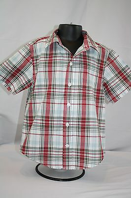 Toddler Boy Gymboree Red Sage Plaid Short Sleeve Button Down Shirt size XS 3-4