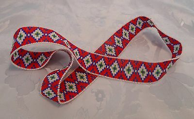 OLD OJIBWA TRADITIONAL DESIGN HANDLOOMED BEADED HATBAND  - Continuous Circle