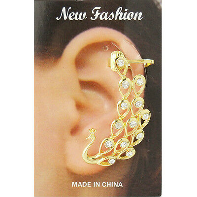 Wholesale Lot 10Pcs Gold Plated Gem Paved Beautiful Peacock Ear Cuff Earings