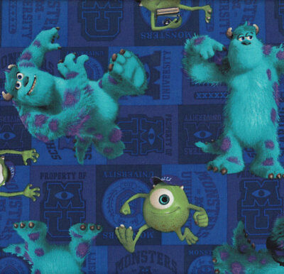 Monsters Inc University Mike & Sulley Kids Licensed Quilt Fabric FQ or Metre *Ne