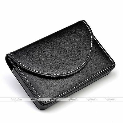 PU Leather Business Name Credit ID Cards Holder Wallet Case Keeper Black