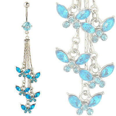 Lot 10pcs 14G Five Butterfly Tassels Dangling Belly Ring Navel Naval