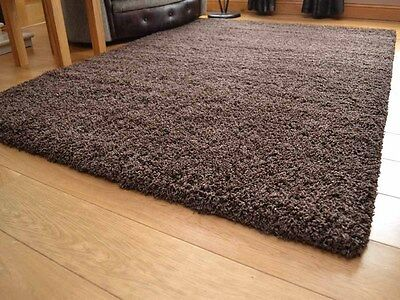 New Dark Brown Mix Small Extra Large 5cm Soft Thick Plain Shaggy Long Runner Rug