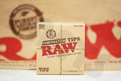 FULL BOX 50 PACKS(50 in Each Pack) AUTHENTIC RAW ROLLING PAPER WIDE TIPS FILTER