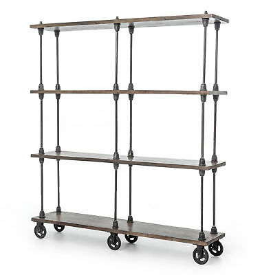 "71"" H Floreal Bookshelf Bookcase On Wheels Solid Iron Oak Wood Natural Antique"