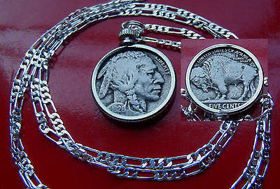 "pre 1937 Classic USA  Buffalo Nickel Pendant on a 30"" .925 Sterling Silver Chain"