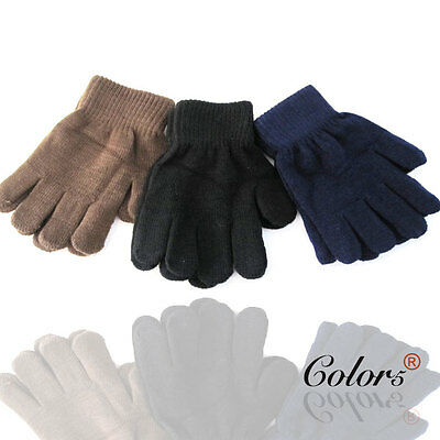 Color5 Boy Girl Children Kids Winter Warm Knitted Gloves Plain Black Brown Navy