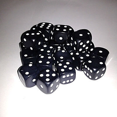 DICE - 16mm Black 6 sided spot dice - pack of 24