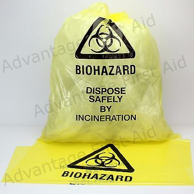 Bio-hazard Disposal Yellow Bags Clinical Waste Bags 63cm x 42cm. Qty 25