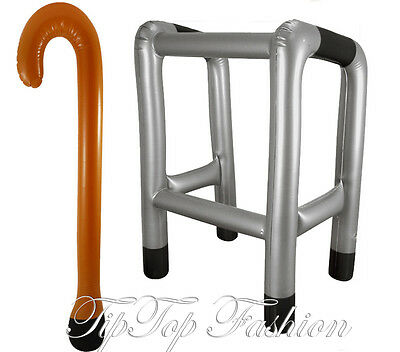 Inflatable Zimmer Frame and Walking Stick Blow Up Toy Gag Joke Dress Up