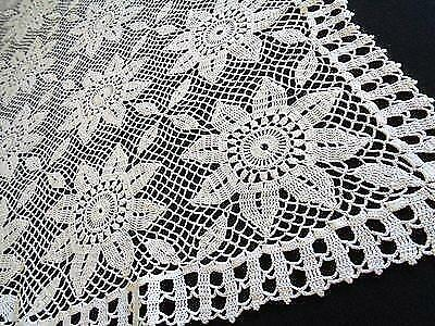Crochet White Tablecloth Large Rectangular Sunflower Table Cover Croatia Lace