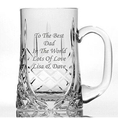 Personalised Engraved 24% Lead Crystal 1 Pint Glass Tankard - Birthday, Wedding