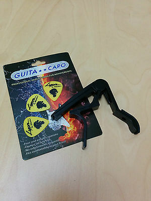 Quick Change Acoustic Guitar Capo, Black,  with 3 free picks - Clearance!!