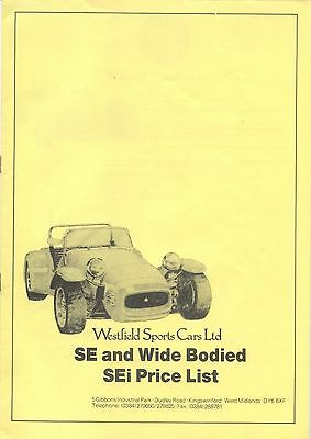 Westfield SE & wide bodied SEi Ford based kit car original 12 page Price List