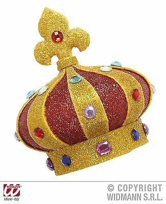 Gold Mini Glitter Crowns with Gems Royalty King Queen Costume Accessory 9082B
