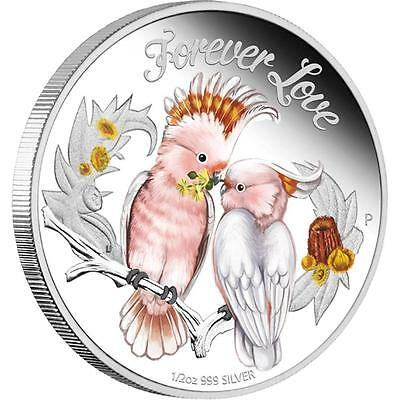 Tuvalu 2014 50ct Forever Love - Pair of Cockatoos 1/2oz Silver Proof Coin
