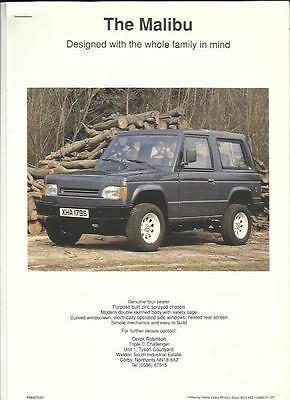 MALIBU KIT CAR SALES 'BROCHURE'/SHEET 1990's + INFORMATION AND PRICES