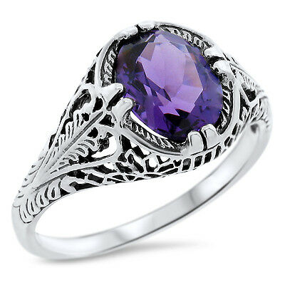 #804 VICTORIAN DESIGN .925 STERLING PURPLE LAB AMETHYST SILVER RING SIZE 10