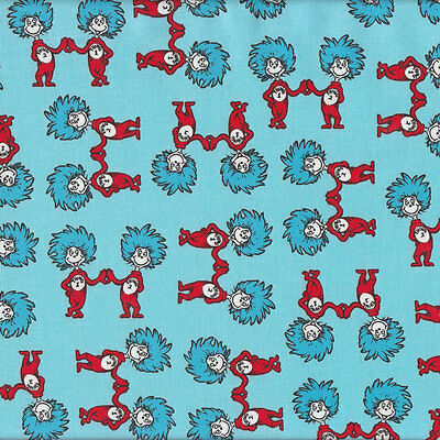 Dr Seuss Thing 1 Thing 2 on Blue Quilting Fabric FQ or Metre *New*